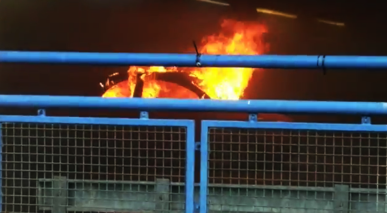 dramatic footage shows extent of car fire in orchard st car park