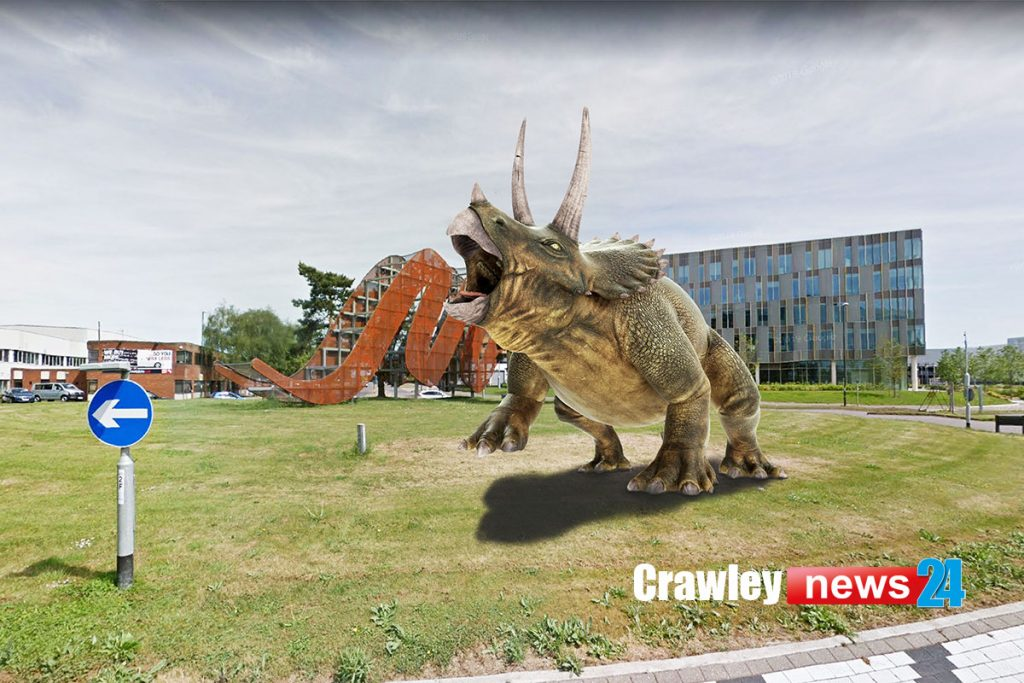 Triceratops in-front of the entrance to Manor Royal
