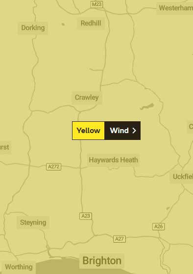 Yellow Wind warning for Crawley