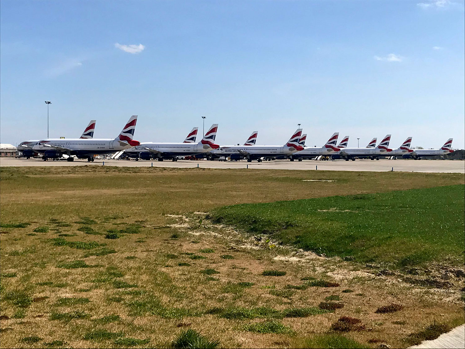 British Airways p;anes lined up at Gatwick Airport